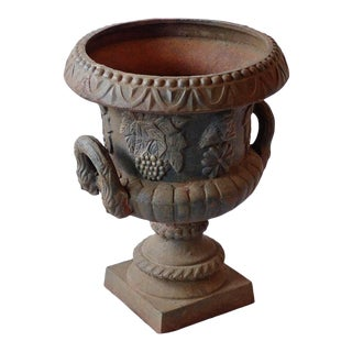 Mid 20th Century Traditional Garden Urn With Grapevine Motif For Sale