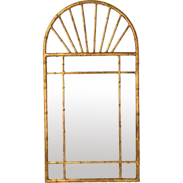 Metal Vintage Labarge Oval Top Spanish Gilt Metal Faux Bamboo Wall Mirror For Sale - Image 7 of 7