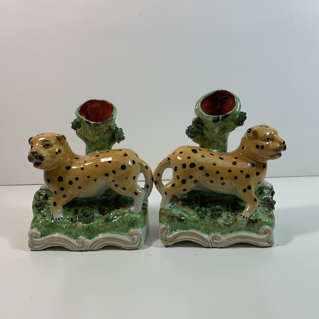 This is a beautiful pair of Staffordshire Style Leopard spill vases. These Leopard spill vases are vintage reproductions...
