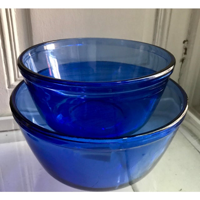 Vintage Anchor Hocking Cobalt Blue Mixing Bowls - Image 2 of 9