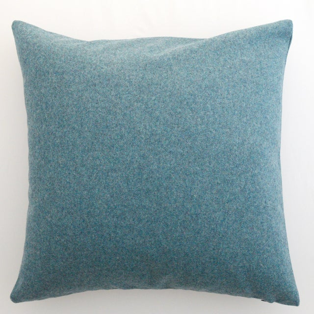FirmaMenta Italian Solid Aegean Blue Sustainable Wool Pillow For Sale - Image 4 of 4