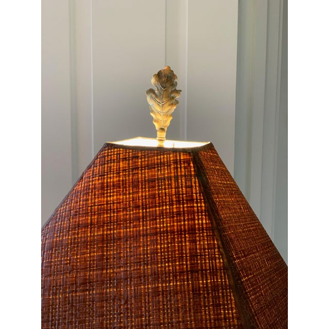 2000 - 2009 Bronze Leaf and Acorn Motif Standing Lamp For Sale - Image 5 of 11