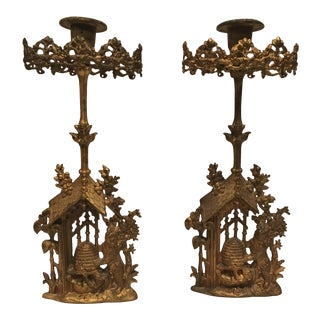 Vintage Brass Bear and Beehive Candlesticks - a Pair For Sale