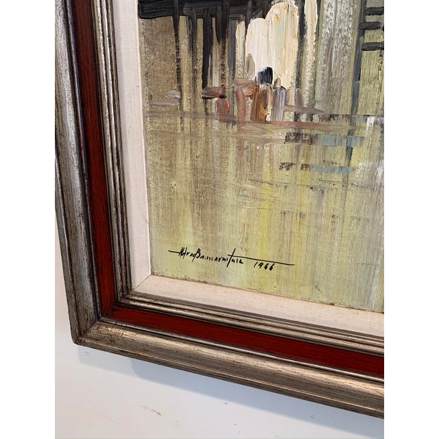 """Brown 1966 """"Houses on Stilts"""" Oil Painting For Sale - Image 8 of 9"""