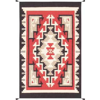 Navajo Style Wool Area Rug - 5′1″ × 6′11″ For Sale