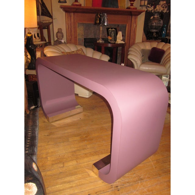 Postmodern Vintage Postmodern Lavender Mauve Pink-Purple Waterfall Console Table For Sale - Image 3 of 11