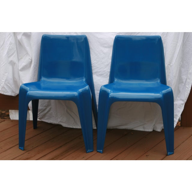 1960s Vintage Helmut Batzner Stackable Blue Space Age Bofinger Chairs- A Pair For Sale In Washington DC - Image 6 of 6