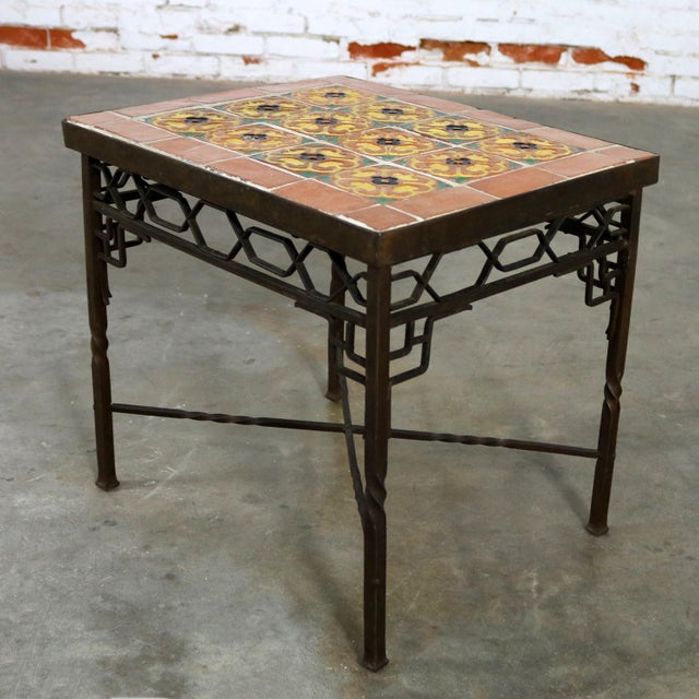 Art Deco Wrought Iron and Tile Side Table California Style Tiles For Sale - Image 5 of 11