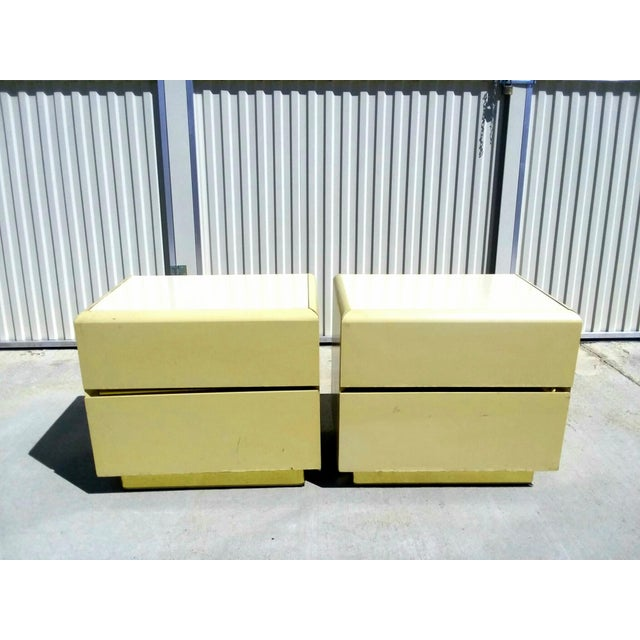 Yellow 1970s Mid Century Modern Lane Lacquer Nightstands -a Pair For Sale - Image 8 of 8