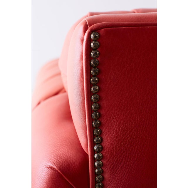 Coral Red Leather Tufted Chesterfield Sofa Settee | Chairish
