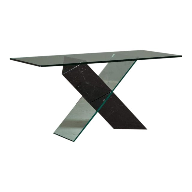 A Black Stone and Glass Console Table designed by Reflex 1980s - Image 1 of 4