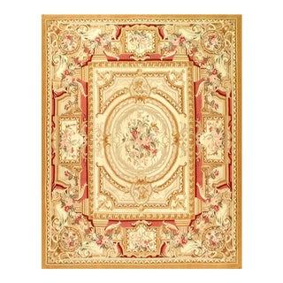 Beige Color Fine Hand Knotted Abusson Rug 8' X 10'3'' For Sale