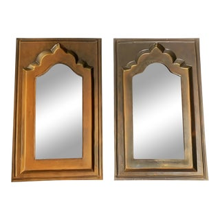 Vintage Moroccan Mid Century Hand Made Brass Mirrors - a Pair For Sale