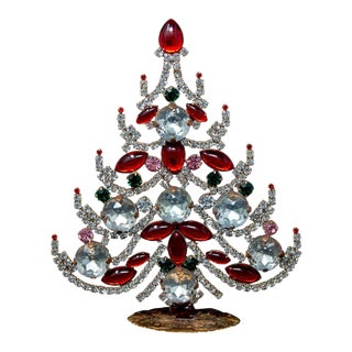 Czech Crystal and Rhinestone Table Top Mantle Christmas Tree For Sale