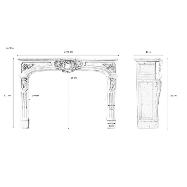 19th Century, Louis XIV Style, Antique Fireplace of Carrara Marble For Sale - Image 12 of 13