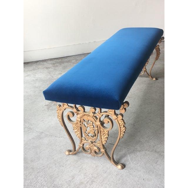 Art Deco Art Nouveau Blue Velvet Gilded Cast Iron Bench For Sale - Image 3 of 13