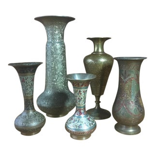 Brass Vase Collection Made in India - Set of 5