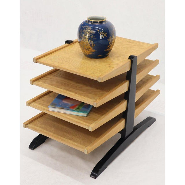 Mid-Century Modern Oak 4-Tier Magazine Rack Stand Shelf Storage For Sale - Image 9 of 10