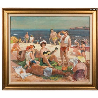 Large 1940's Staten Island Beach Scene Painting by Cecil C Bell For Sale