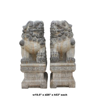 Chinese Large Pair Distressed Black Gray Stone Fengshui Foo Dogs Statues Preview