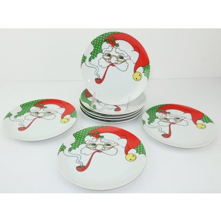 Fitz & Floyd Mod Santa Hors D'oeuvre Plates, Set 8 Preview