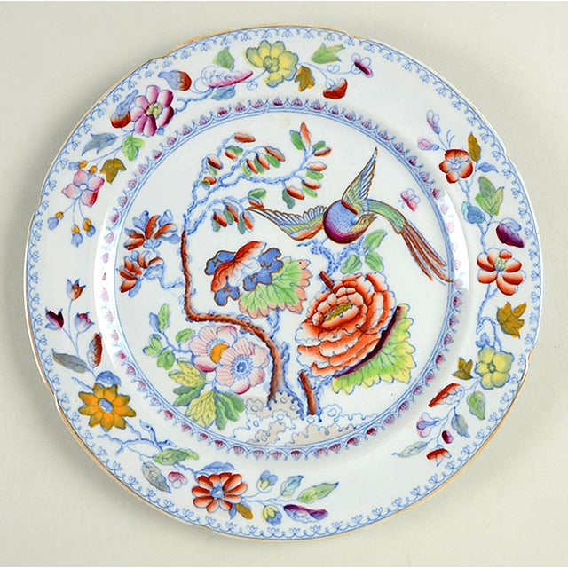 Mason's #MAS16 Luncheon Plate S/5 features blue birds and flowers with multicolor accents, scalloped and luster edge....