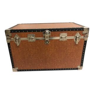 Vintage Brown Large Steamer Trunk For Sale