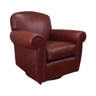 Henredon Leather Swivel Rocking Lounge Chair For Sale