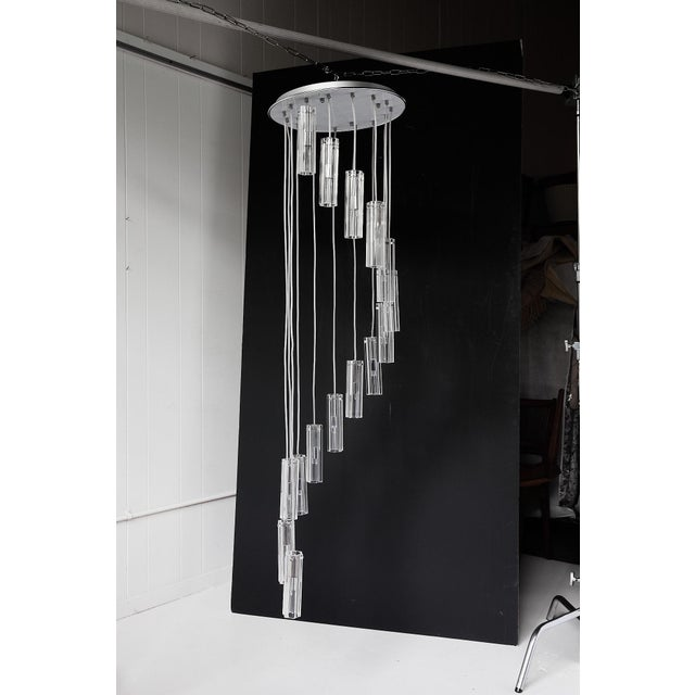 """Cascading Glass Pendant Chandelier, 60"""" For Sale - Image 12 of 13"""