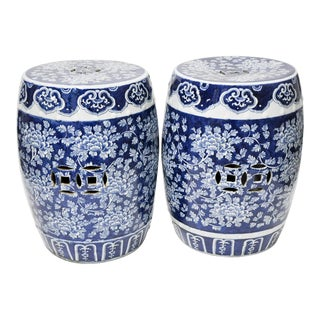 Pair of Blue & White Chinoiserie Garden Stools For Sale