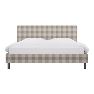 King Tailored Platform Bed in Ivory Check For Sale