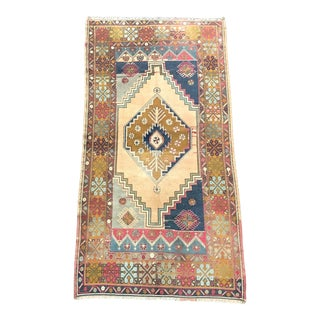 Vintage Decorative Turkish Oushak Beige Yellow and Blue Rug For Sale
