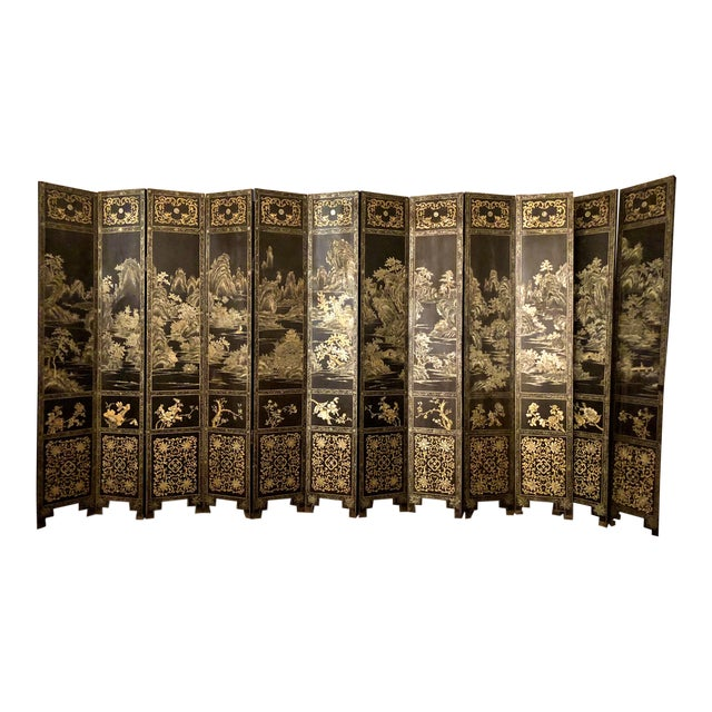 Antique Chinese Lacquered 12 Panel Screen, Circa 1890-1910. For Sale