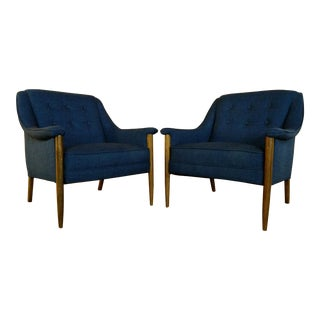 Mid Century Pair of Walnut and Vibrate Blue Reupholstered Lounge Chairs For Sale