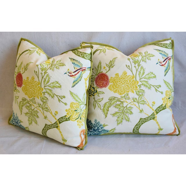 """Schumacher Arbre Chinois Meadow Chinoiserie Linen & Scalamandre Mohiar Pillows 21"""" Square - Pair For Sale - Image 9 of 13"""