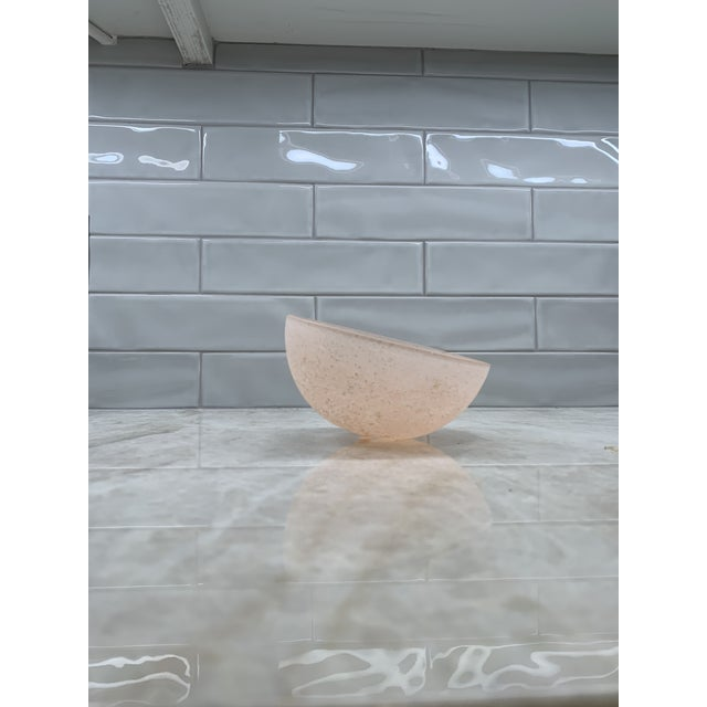 """Beautiful vintage mid-century pink frosted asymmetrical/tilted bowl. 6"""" diameter, 3.75"""" tall."""