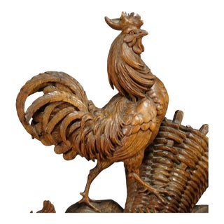 Antique Black Forest Chicken Family Carving Ca. 1900 For Sale