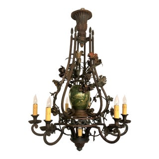Antique Early 19th Century French Iron and Tole Chandelier. For Sale