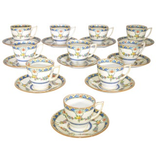Early 20th Century Mintons Princess Demitasse Cups and Saucers- 20 Pieces - Service for 10 For Sale