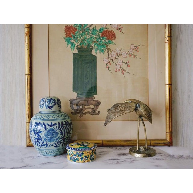 Chinese Chinese Hand Painted Asian Vase and Flowers Painting on Silk With Custom Frame For Sale - Image 3 of 11
