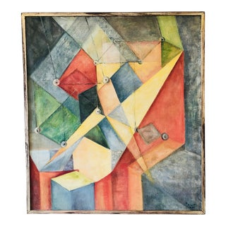 1960s Abstract Geometric Framed Acrylic Painting For Sale