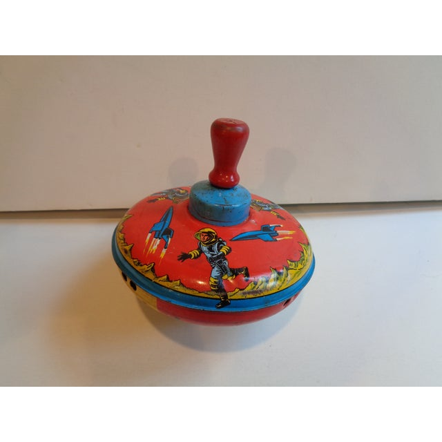 1960s Metal Spinning Top Toy With Space Theme - Image 2 of 5