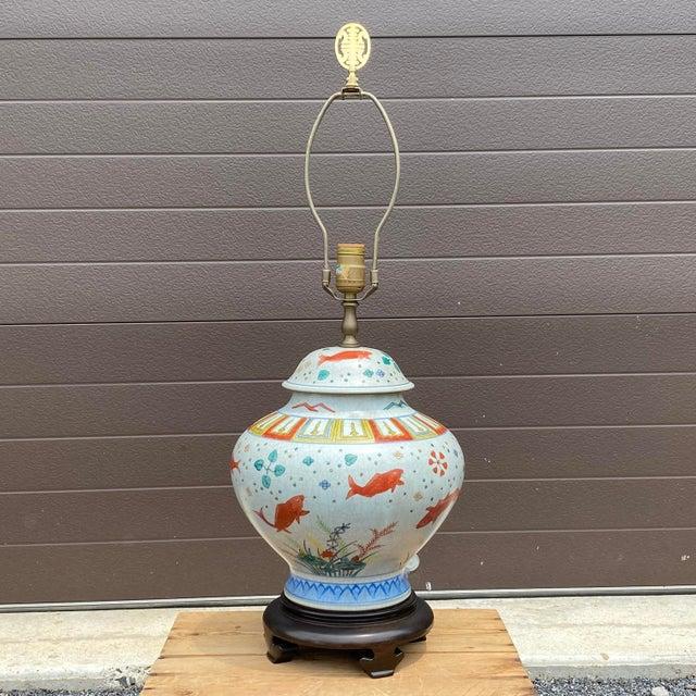 Porcelain Ginger Jar Koi Lamp For Sale - Image 9 of 9
