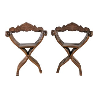 Walnut Savonarola Chairs with Carved Lion Head Arms - A Pair For Sale