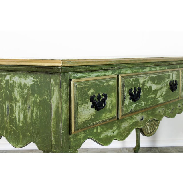 Green 1960's Queen Anne Style 3-Drawers Green Console Table For Sale - Image 8 of 12
