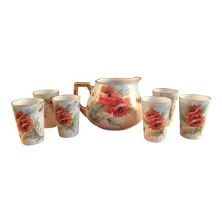 1930's Vintage Silesia Porcelain Flowering Pitcher and Glasses- Set of 7 For Sale