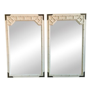 Faux Bamboo Campaign Style Mirrors - A Pair