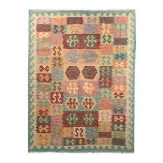 Boho Chic Multicolored All Wool Kilim - 4'8 X 6'3