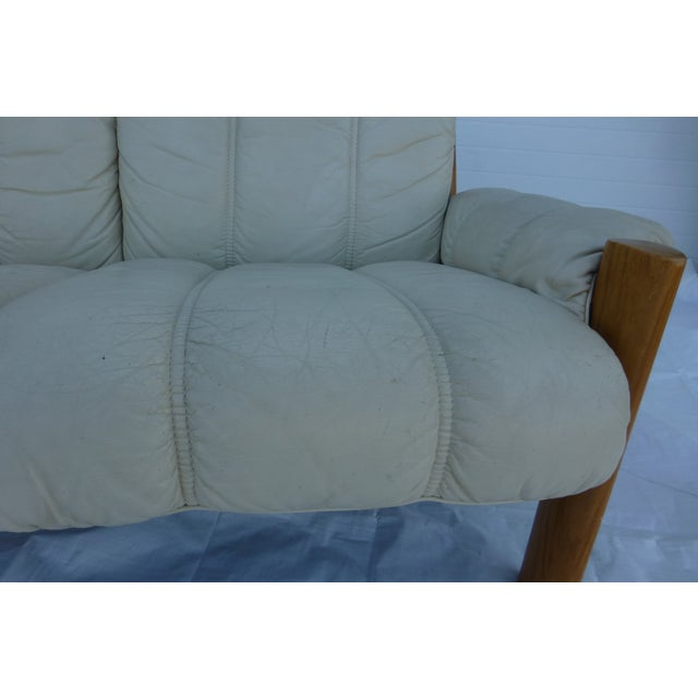 Ekornes Modern Teak & Leather Sofa For Sale - Image 5 of 11