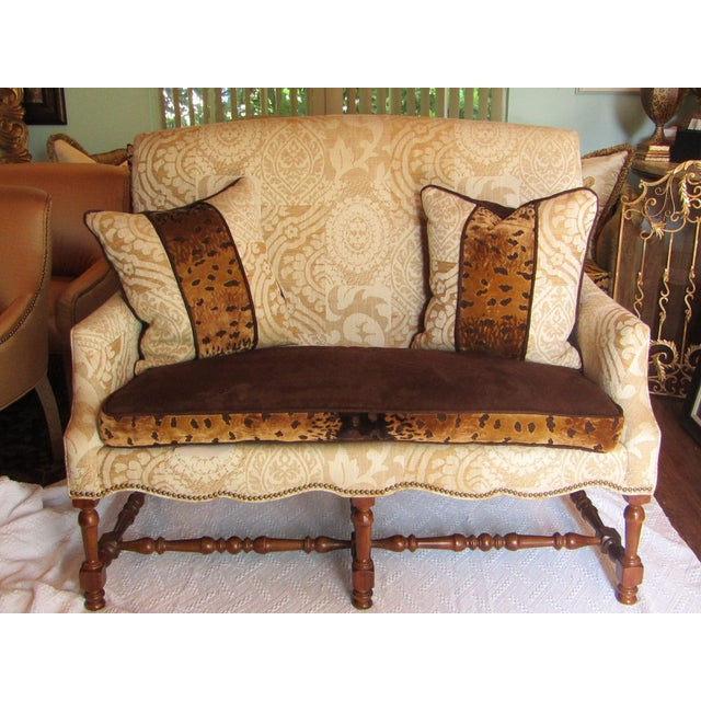 Contemporary Southwood Damask and Chenille Leopard Print Settee with Pillows - 3 Pieces For Sale - Image 12 of 12
